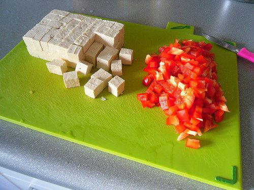 Diced Tofu and red bell pepper