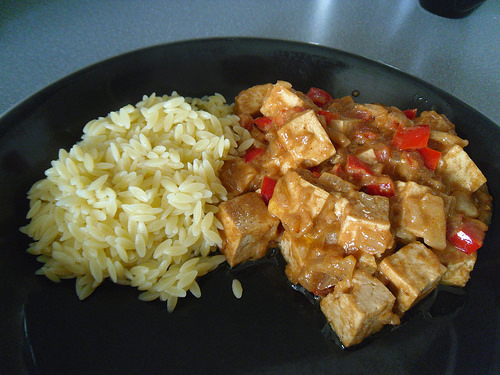Tofu and Veggies in Peanut Sauce with orzo