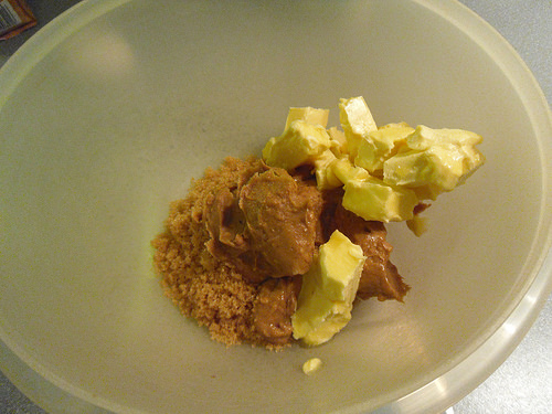 Butter, sugar and peanut butter