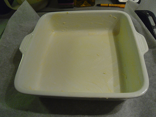 grease the baking dish