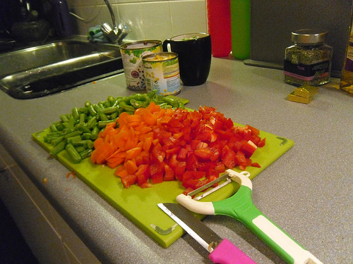 slice and diced veggies