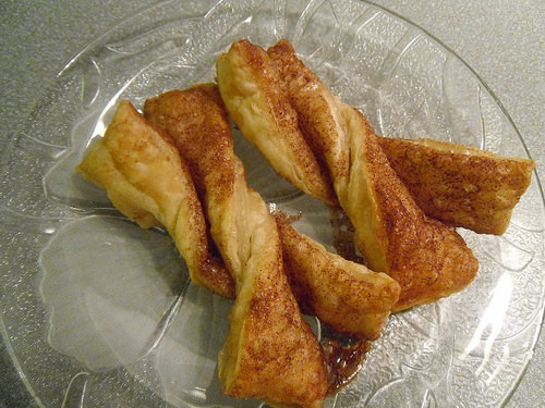 Cinnamon Sugar Puff Pastry Twisters close up