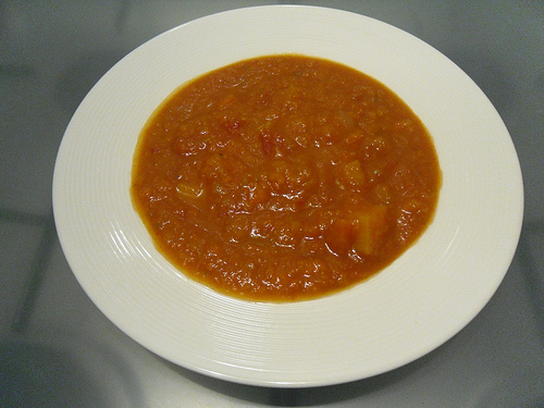 Tomato Pumpkin soup close up