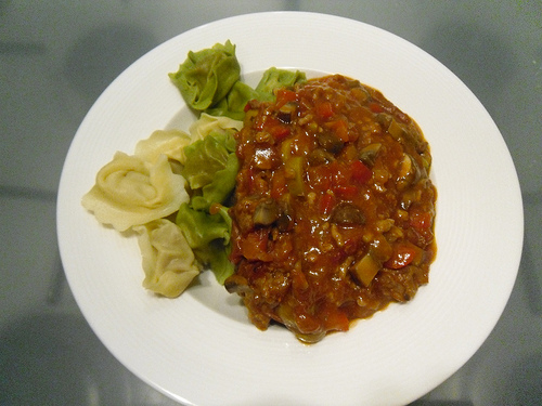 Tomato Pasta Sauce with minced meat, mushrooms and olives