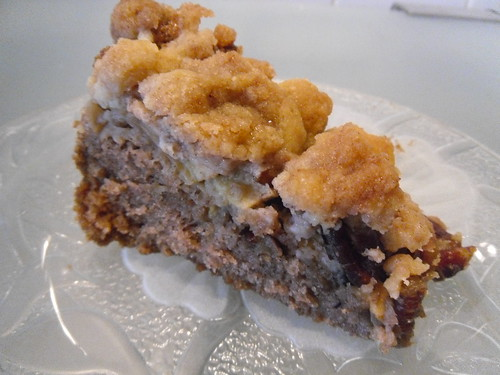 Apple Crumble Cake with Pecans side close up