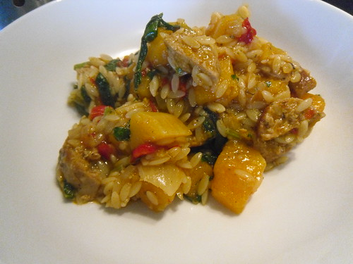 Orzo-with-pumpkin-and-red-pesto-sauce-close-up